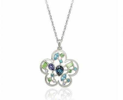 Flower With Multicolor Crystal Pendant