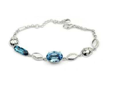 Blue Oval Austria Crystal Beatles White Gold Plated Link Bracelets