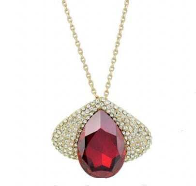 Red Wine Teardrop Austria Crystal Eye Gilded Pendant