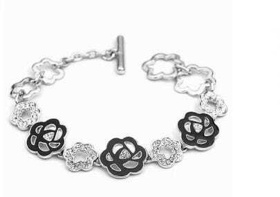 Black Flower Austria Crystal White Gold Plated Link Bracelets