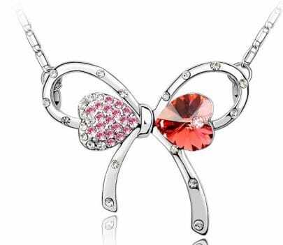 Butterfly With Red Crystal And Pink Diamond Pendant