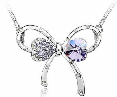 Butterfly With Purple Crystal And Purple Diamond Pendant