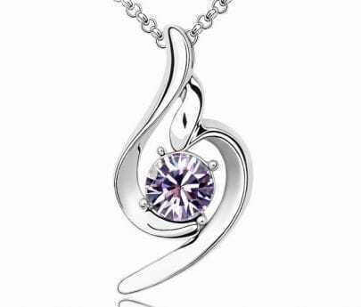 Violet Round Crystal Pendant White Gold Plated Necklace