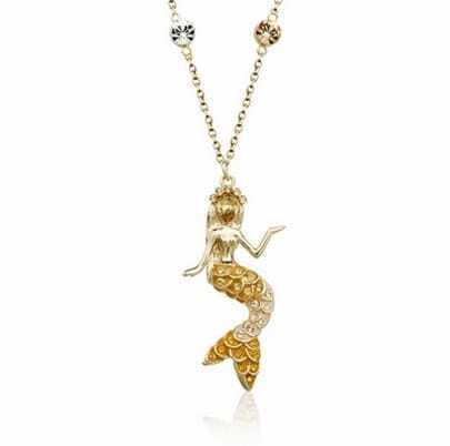 Gold Mermaid Austria Crystal Pendant Gilded Necklace