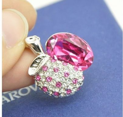 Pink Half-Apple Austria Crystal White Gold Plated Bling White Gold Plated Necklace