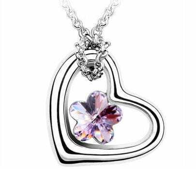 Heart White Gold Plated With Purple Flower Crystal White Gold Plated Necklace