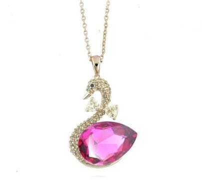 Swan With Rose Red Teardrop Crystal Pendant Gilded Necklace