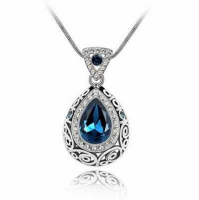 Blue Teardrop Austria Swarovski Crystal Pendant White Gold Plated Necklace