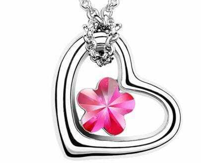 Heart White Gold Plated With Rose Red Flower Crystal Pendant Sterling Silver Necklace