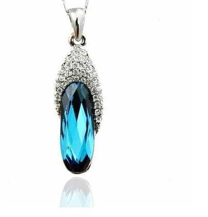Blue Oval Austria Crystal Bling Necklace