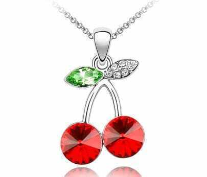 Red Cherry With Green Leaf Crystal Pendant Sterling Silver Necklace