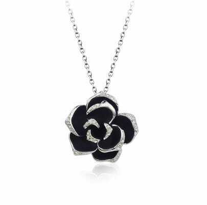 Black Flower Austria Crystal Pendant White Gold Plated Necklace