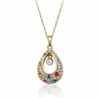 Multicolor Teardrop Austria Crystal Pendant Gilded Necklace