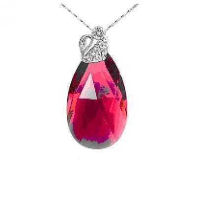 Red Teardrop Silver Austria Crystal Swan Diamond Pendant