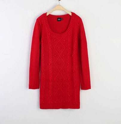 Round Neck Long Red Slim Sweater