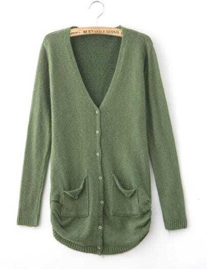 Cardigan Pockets Long-sleeved Green Sweater
