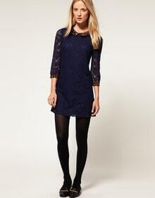 Blue Lace Mid Sleeve Dress with Leopard Lapel