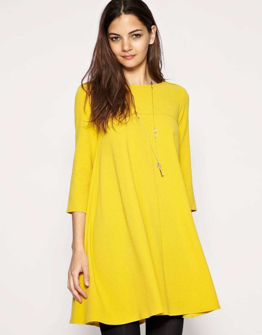 Solid Round Neck Button Slim Long Sleeved Yellow Dress