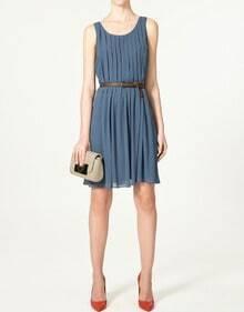 Blue Chiffon Round Neck Pleated Tank Dress