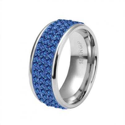 Blue Three-Row Diamond White Gold Plated Ring