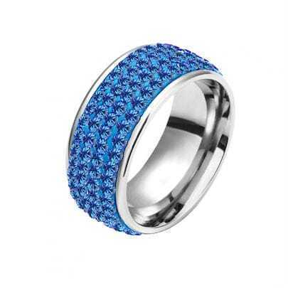 Blue Four-Row Diamond White Gold Plated Ring