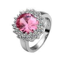 Pink Round Crystal White Gold Plated Ring