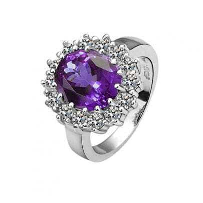 Purple Round Crystal White Gold Plated Ring