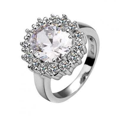 White Round Crystal White Gold Plated Ring