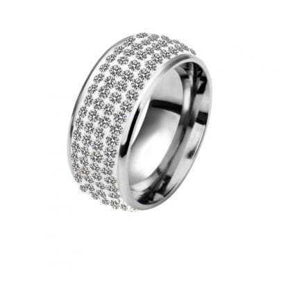 White Four-Row Diamond White Gold Plated Ring