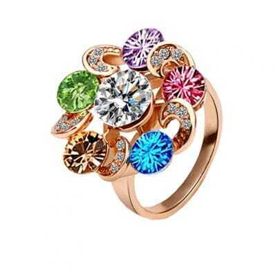Multicolor Garland Crystal Gilded Ring