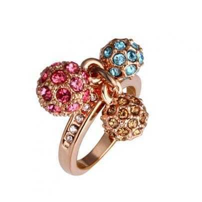 Multicolor Three-Ball Diamond Gilded Ring