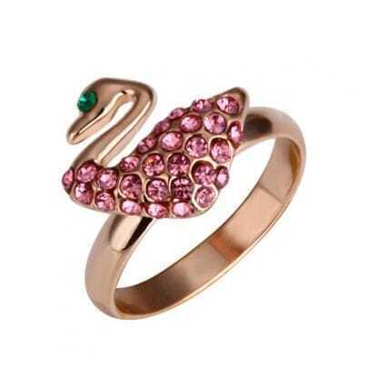 Pink Diamond Swan Gilded Ring