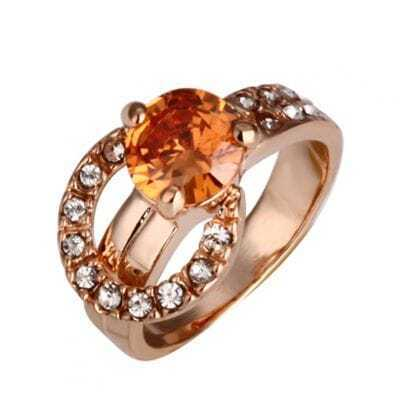 Orange Round Crystal Ring With Diamond