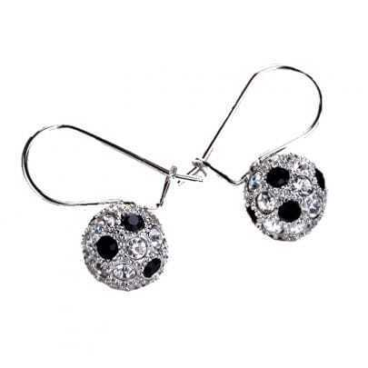 Globe With Black And White Crystal Hoop Earring