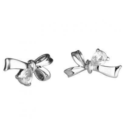 Teardrop Crystal Silver Bow Stud Earring