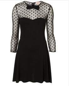 Black Polka Dot Bow Vintage Elegant Dress