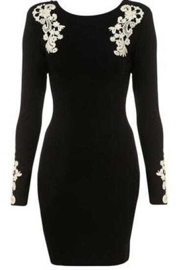 Black Backless Bodycon Dress with Appliques
