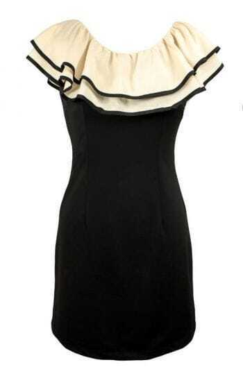 Black and White Bodycon Ruffles Collar Cute Dress