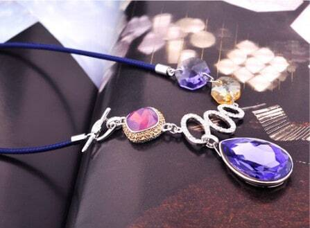 Purple Teardrop Swarovski Crystal Pendant String Necklace