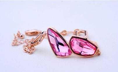 Pink Asymmetric Swarobski Woman Link Bracelets