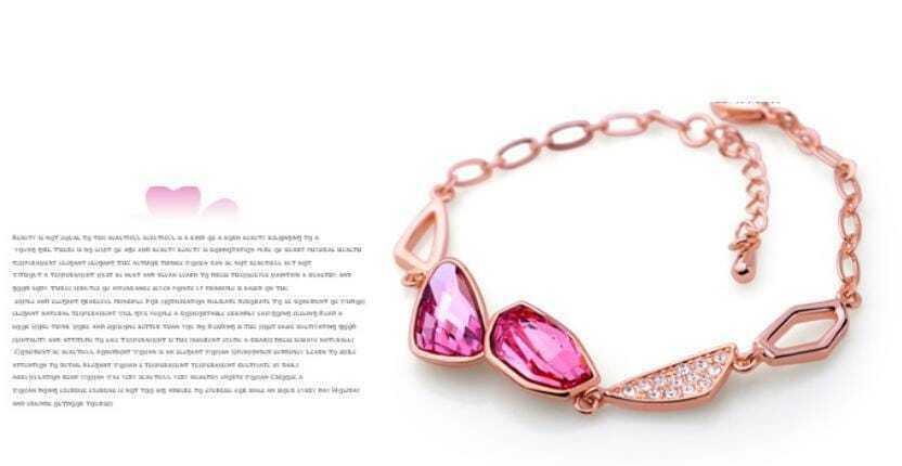 Pink Asymmetric Swarovski Crystal White Gold Inlaid Gemstone Woman Link Bracelets