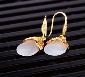 Champagne Gold Gilded Teardrop Dangle Earrings