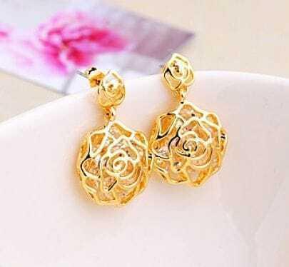 Champagne Gold Rose Gemstone Dangle Earrings