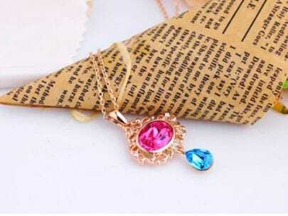 Pink Oval with Blue Teardrop Swarovski Crystal Pendant Gold Gilded Necklace