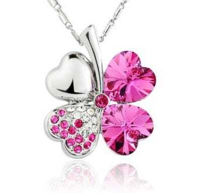 Rose Red Shamrock With Heart Swarovski Crystal Pendant Sterling Silver Necklace