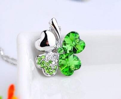 Green Shamrock With Heart Swarovski Crystal Pendant Sterling Silver Necklace