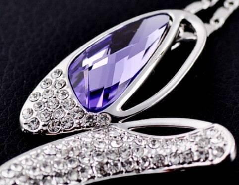 Purple Butterfly Swarovski Crystal Pendant Sterling Silver Necklace