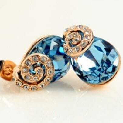 Blue Teardrop Swarovski Crystal With Snail Diamond Stud Earrings
