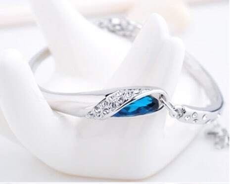 Blue Teardrop Swarovski Crystal Woman Bangle Bracelet