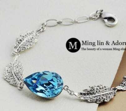 Blue Teardrop Swarovski Crystal Woman Silver Angel Tears Link Bracelet